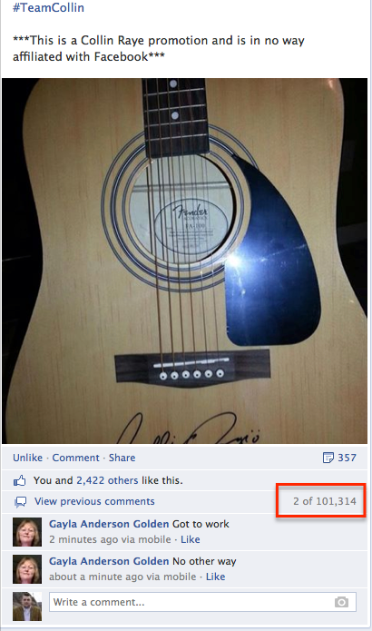 Collin Guitar Contest 100k comments Social Media image