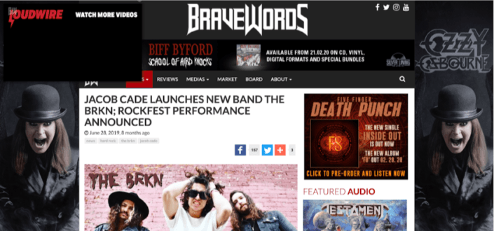 BraveWords Magazine Interviews Jacob Cade about his new band The BRKN and announces Rock Fest performance