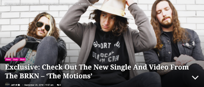 "FolknRock Magazine Exclusive The BRKN release new single and video ""The Motions"""