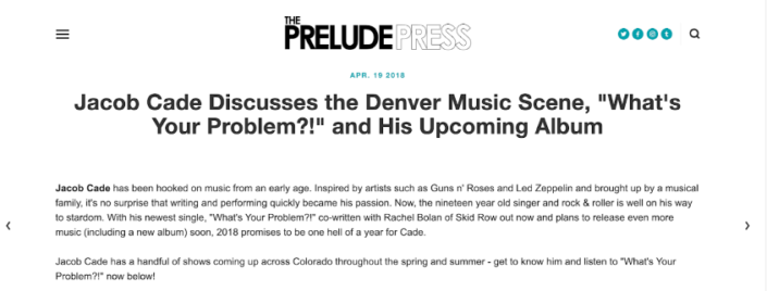 Prelude Press interviews Jacob Cade. He talks about Michael Wagener, Rachel Bolan, Paul Taylor, Lzzy Hale, Halestorm, Skid Row, Ozzy, Alice Cooper, Metallica