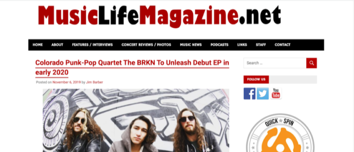 Music Life Magazine interviews Jacob Cade with The BRKN about their current tour with The Dangerous Summer, Arm Akimbo, and Locket