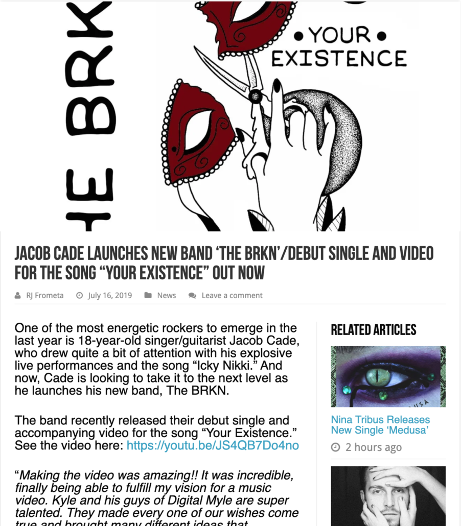 "Vents Magazine Interviews Jacob Cade and The BRKN they release debut single and video for ""Your Existence"""